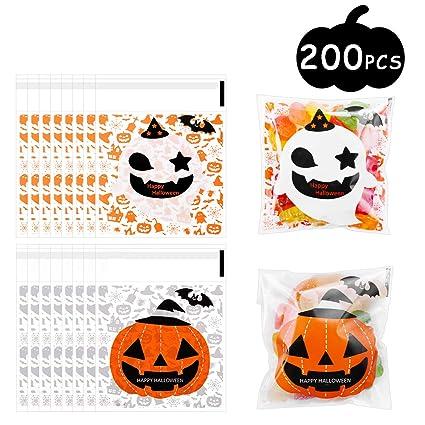 MELLIEX Bolsas de Celofan de Transparente de Halloween, 200PCS Autoadhesivas Bolsa de Dulces para Confeti de Aperitivos Dulces Galletas