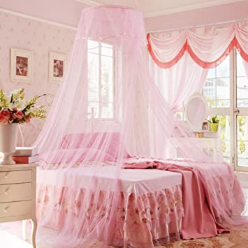 Perfekt Spitzen Vorhang Kuppel Bett Baldachin Netting Prinzessin Moskitonetz Rosa  120x200cm(47x79inch)
