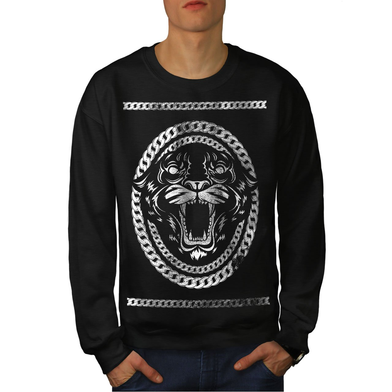 Animal Casual Jumper wellcoda Beast Wild Mad Animal Mens Sweatshirt