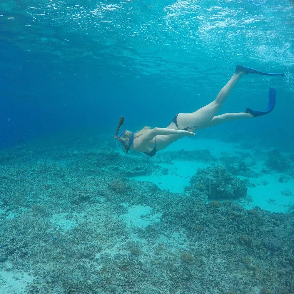 Full Face Snorkel Mask, KingTo Underwater Snorkeling Set 180 Degree Wide Diving Mask Foldable Respiratory Masks Waterproof Scuba Anti Fog Diving Mask Training Dive Equipment (L/XL,Grey) by KingTo (Image #4)