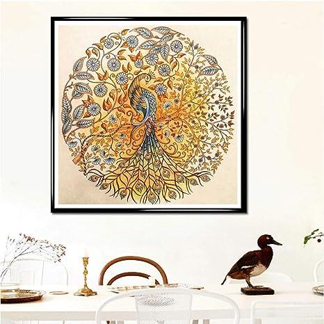 5D Jieyui - Reloj de punto de cruz, diseño de pavo real con flores y