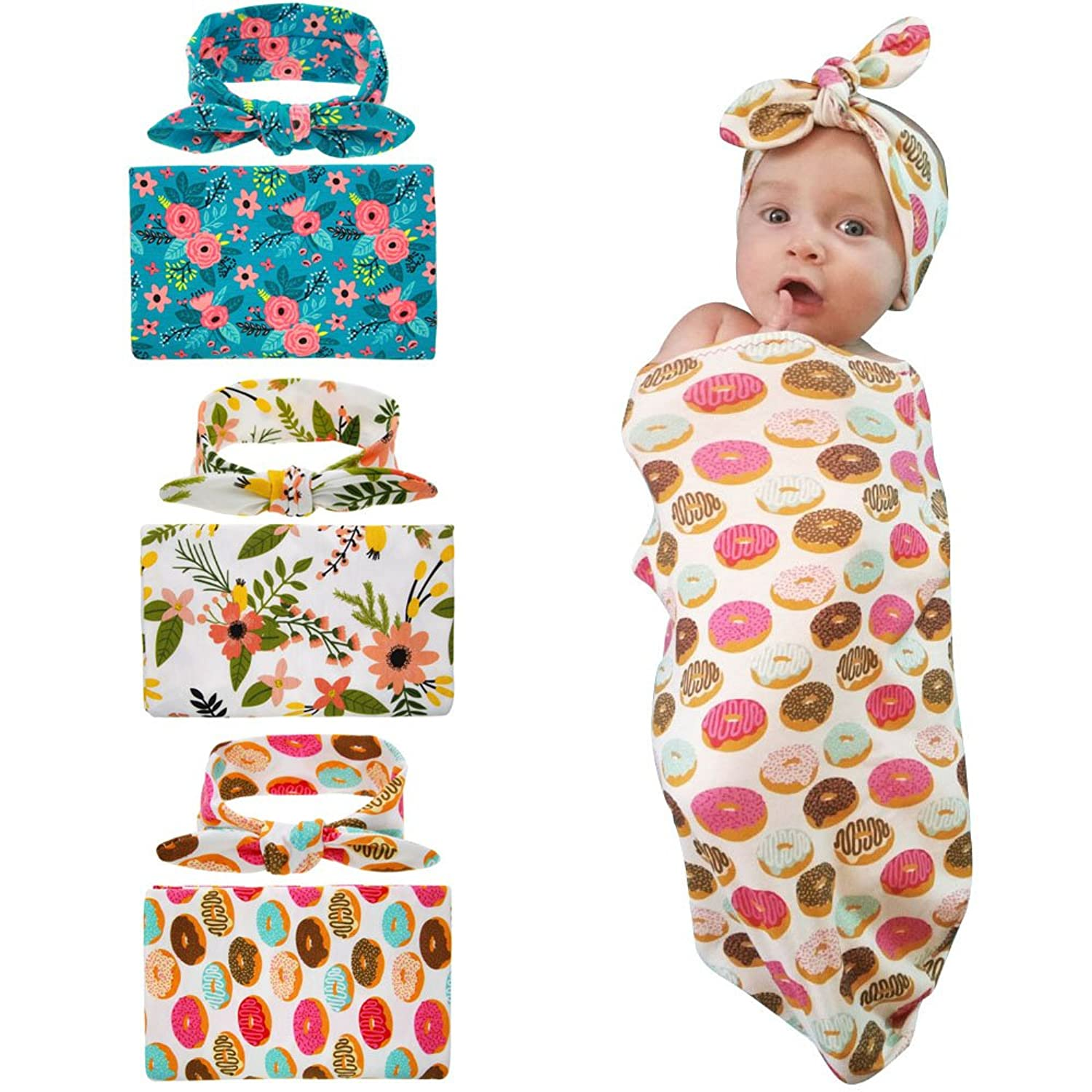Image result for habibee Newborn Swaddle Blanket Headband with Bow Set Baby Receiving Blankets