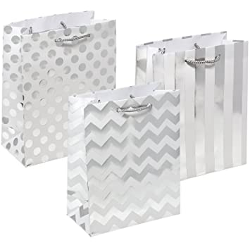 28bfd3733658 12 Metallic Silver Gift Bags Medium Sized with Rope Handle Polka Dots,  Stripes & Chevron Exquisite...