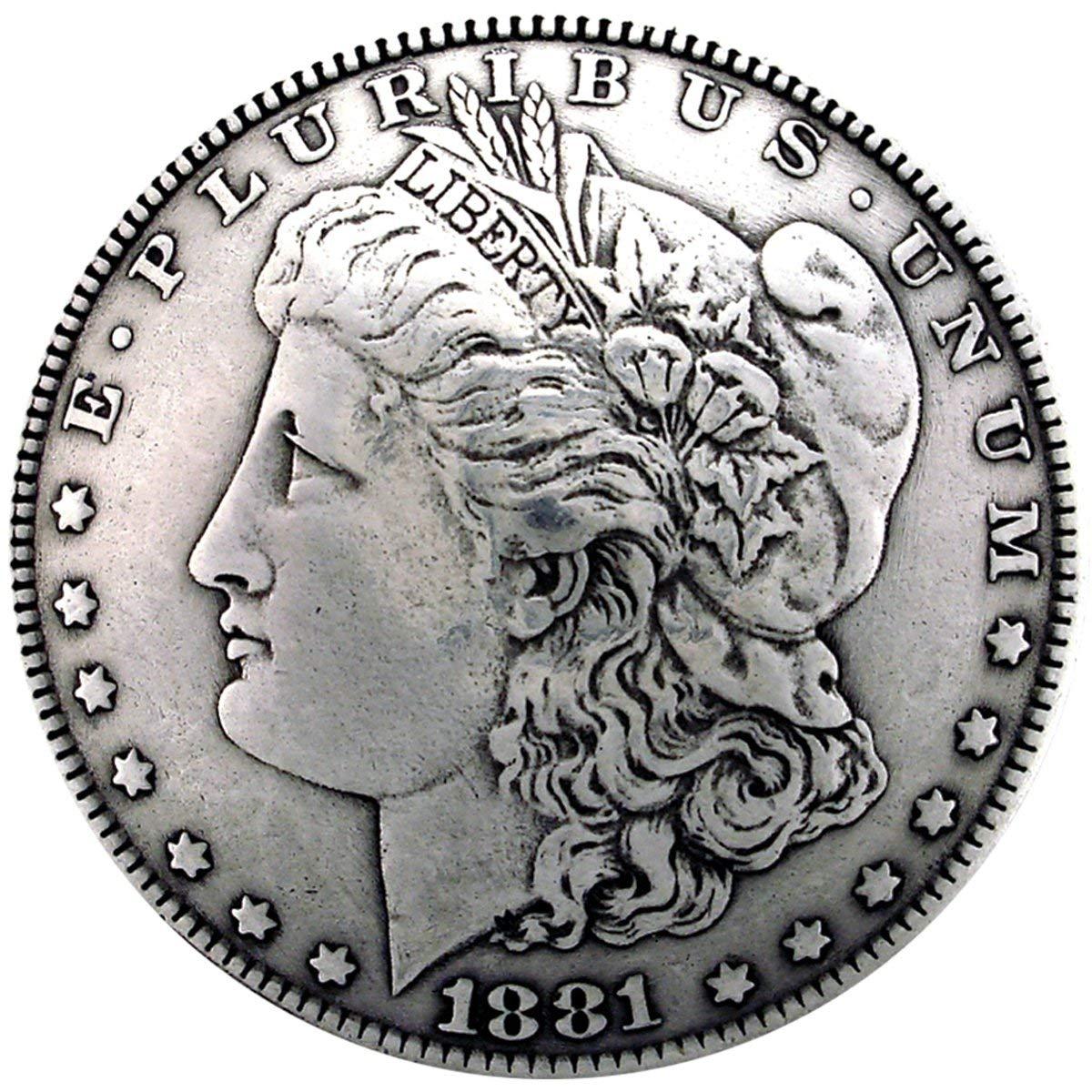 "Concho 1-3/8"" Antique Silver 1/Pkg-Morgan Dollar Heads (BC1932-01)"