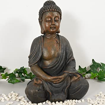 buddha statue braun dekoration wohnzimmer 28cm - Buddha Deko Wohnzimmer