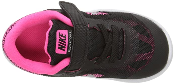Nike Revolution 3 (TDV), Zapatos de Recién Nacido Bebé, Negro (Black/Mtllc Slvr Hypr Pnk Wht), 21 EU