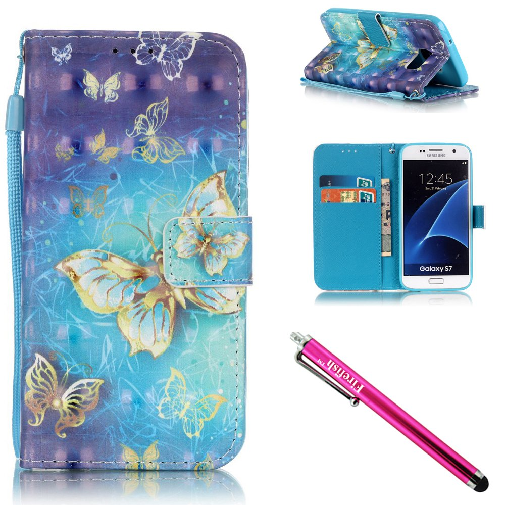 Galaxy S7 Case, Firefish Kickstand Flip [Card Slots] Wallet Cover Double Layer Bumper Shell with Magnetic Closure Strap Case for Samsung Galaxy S7-Butterfly