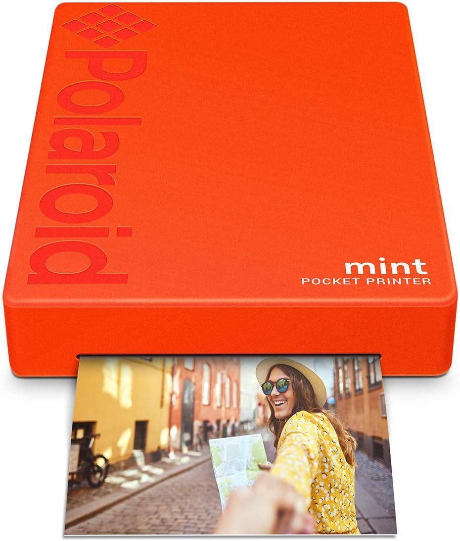 Polaroid Mint Impresora de bolsillo con Tecnología Zink Zero Ink papel adhesivo 5 x 7.6 cm - Bluetooth para Android y iOS (Rojo)