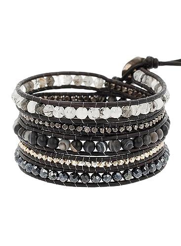 braderie Baskets 2018 Garantie de satisfaction à 100% Chan Luu Matte Black Sardonyx Mix Wrap Leather Bracelet