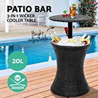 Gardeon Cooler Table Outdoor Patio Bar Wicker Rattan with Ice Bucket-Black