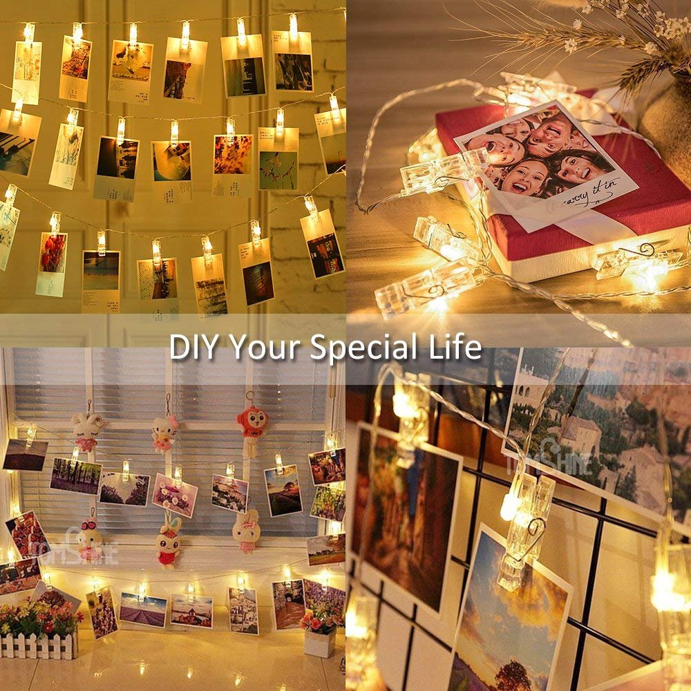 2 pack Halloween Decoration 40 LED Photo Clips String Lights Battery Operated Waterproof 20ft Fairy Light Long Lasting Indoor Girls Bedroom Hang Picture Outdoor Wedding Party Christmas Birthday Gift by Symfury (Image #2)