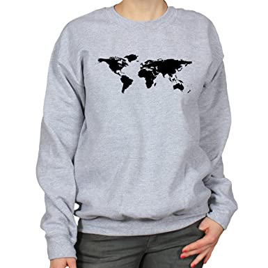 World map geography atlas continents design womens sweatshirt grey world map geography atlas continents design womens sweatshirt grey x large gumiabroncs