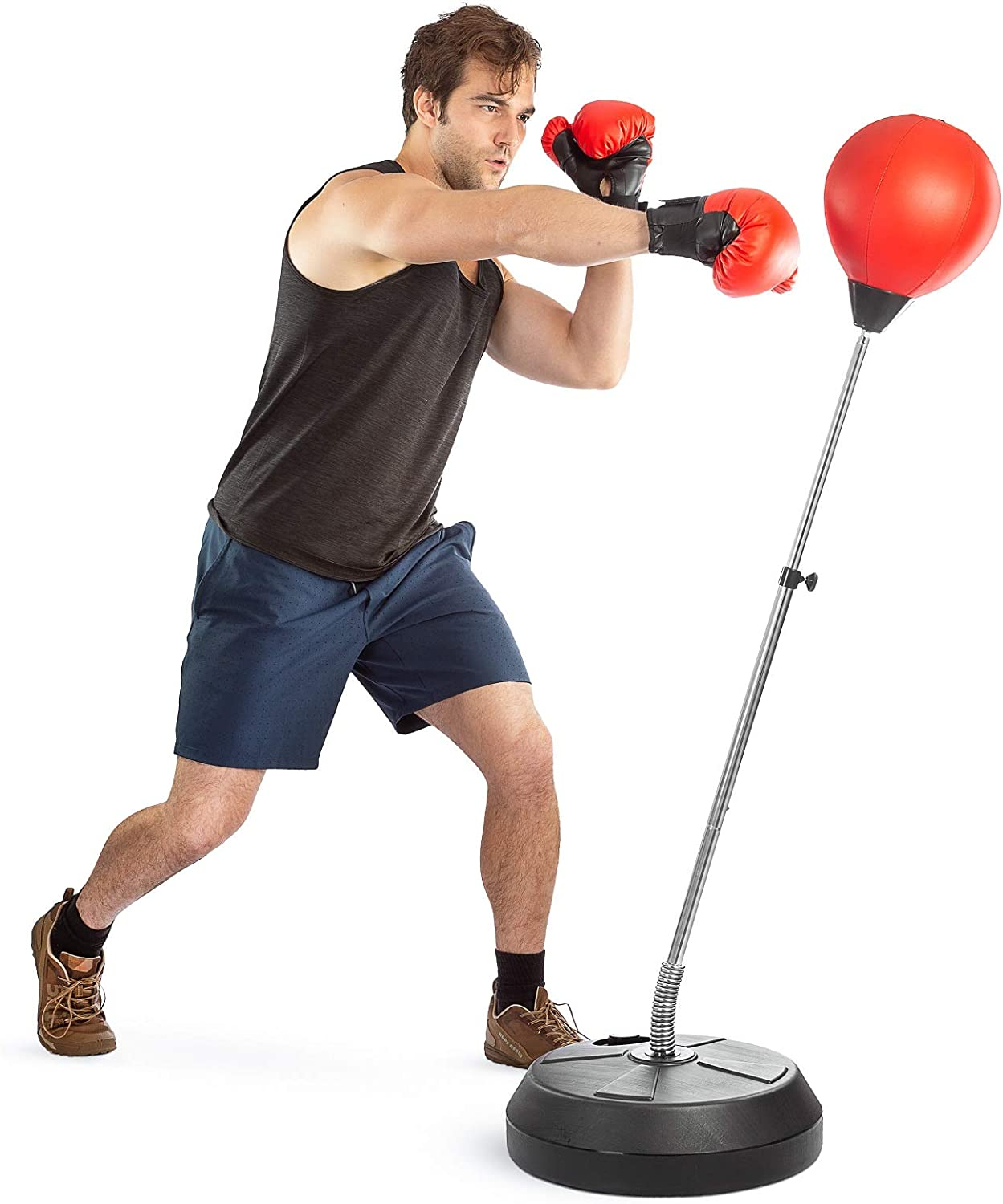 Tech Tools Boxing Ball Set with Punching Bag, Boxing Gloves, Hand Pump & Adjustable Height Stand - Strong Durable Spring Withstands Tough Hits for Stress Relief & Fitness (Adult) : Sports & Outdoors