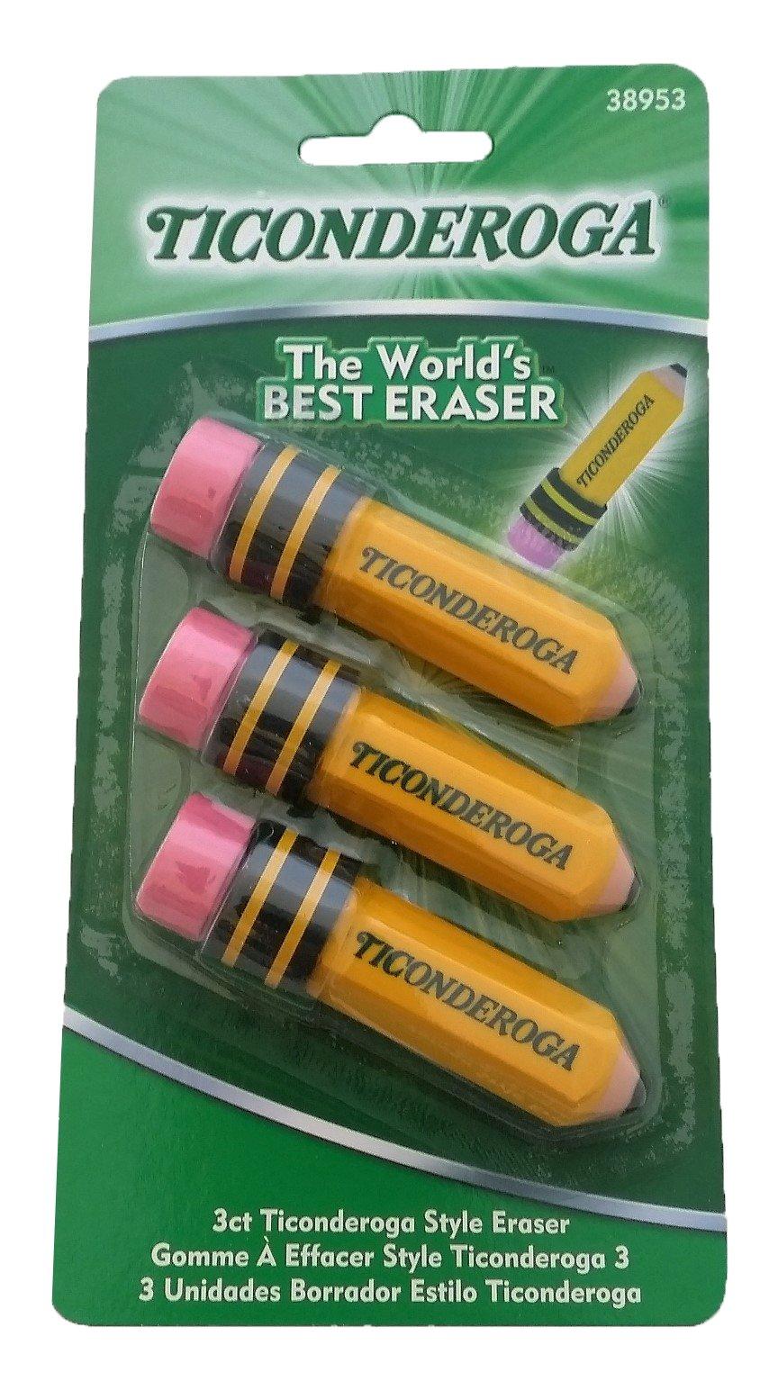 Dixon Ticonderoga Pencil Shaped Erasers 3 Pack (38953) (Set of 3) - 9 Total Erasers