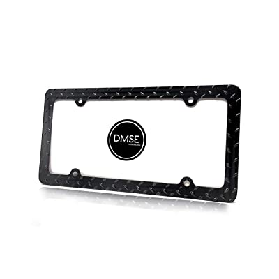 DMSE Heavy Duty Metal Diamond Plate Plated License Plate Frame Cool Decorative Design For Any Vehicle (Black): Automotive