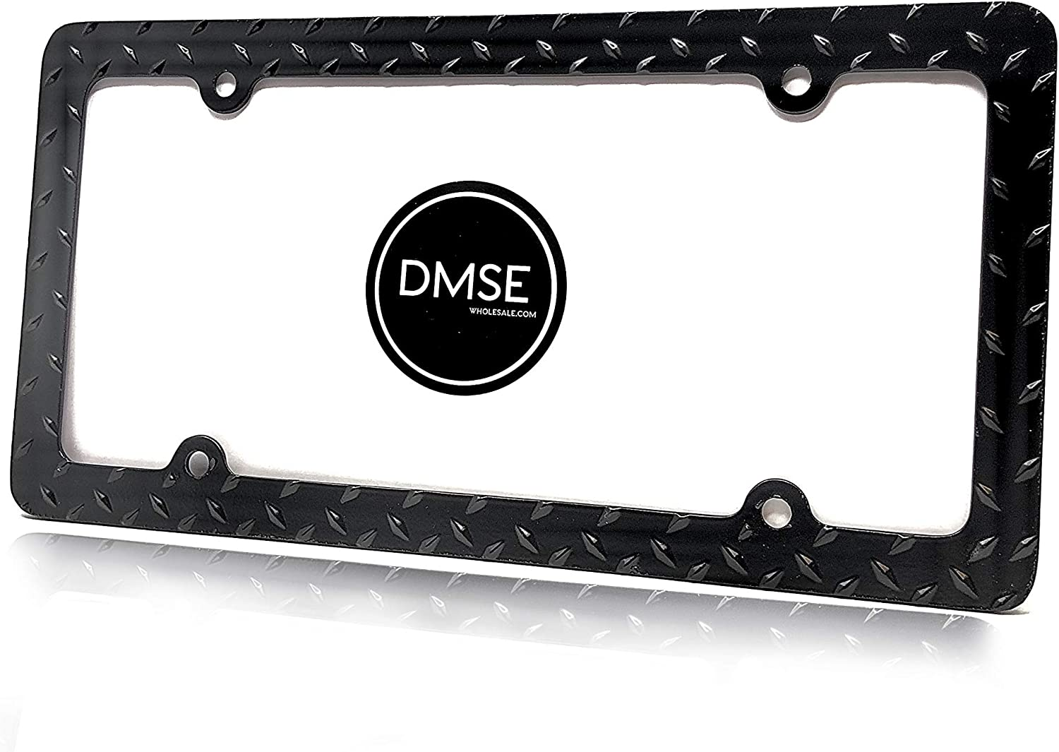 DMSE Heavy Duty Metal Diamond Plate Plated License Plate Frame Cool Decorative Design For Any Vehicle Chrome
