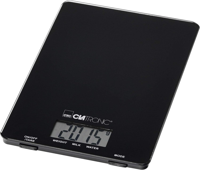 Clatronic KW 3626 Báscula de Cocina Digital, 5 kg Pasos 1 g, función Tara, Negro