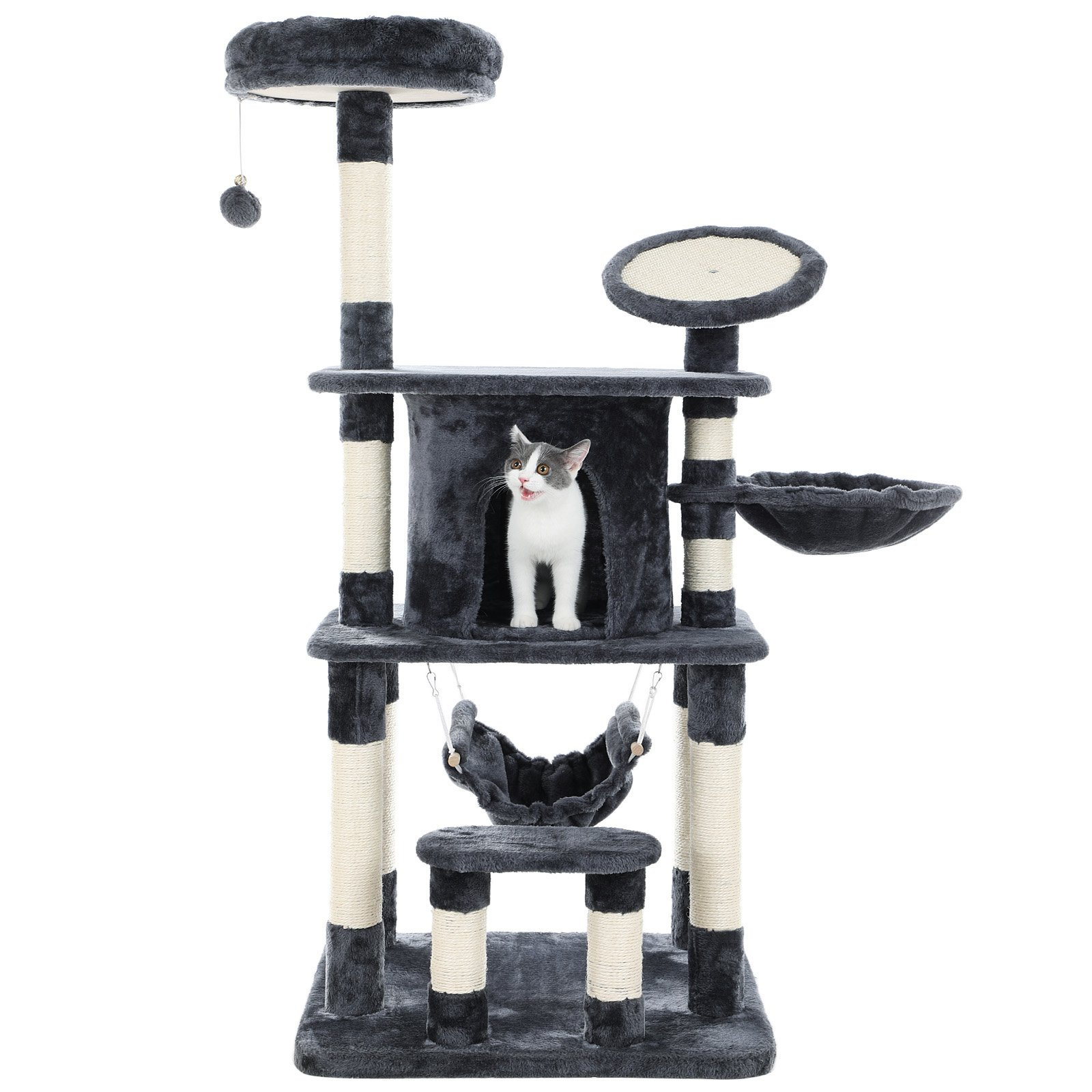 SONGMICS 55'' Multi-Level Cat Tree Condo Tower with Scratching Post and Pad Kitty Play House Furniture Grey UPCT25G