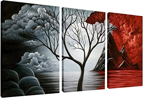 Wieco Art The Cloud Tree Wall Art Oil Paintings Giclee Landscape Canvas Prints For Home Decorations 3 Panels Posters Prints