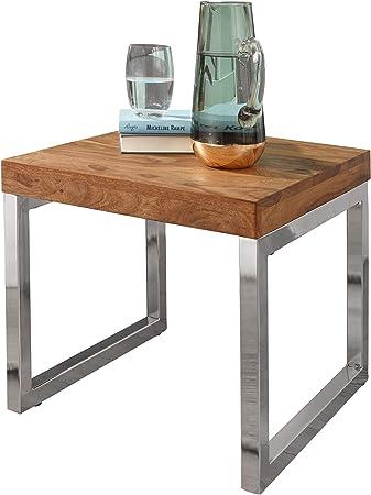 Finebuy Table D Appoint Bois Massif Metal Sheesham 45 X 40 X