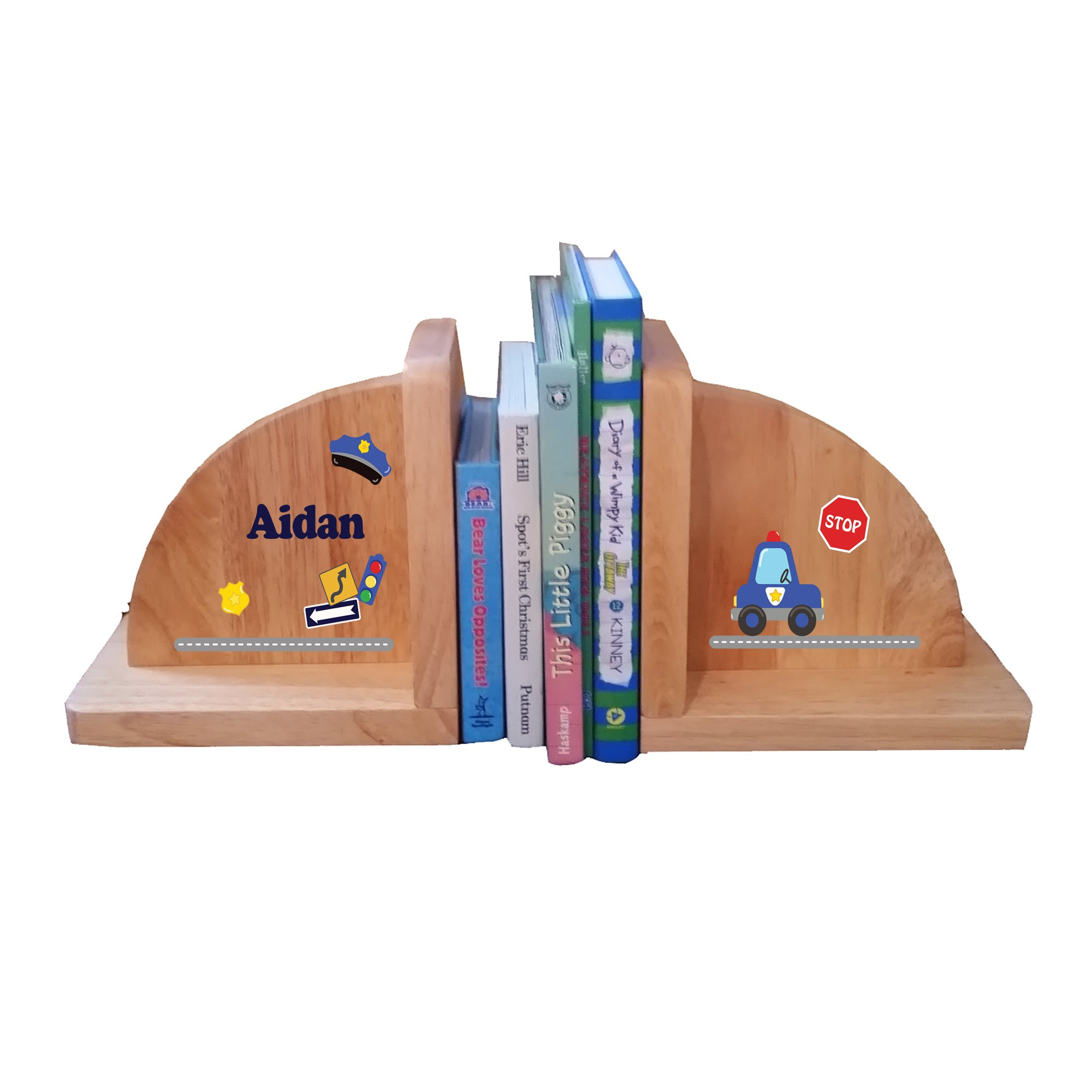 Personalized Police Car Natural Childrens Wooden Bookends