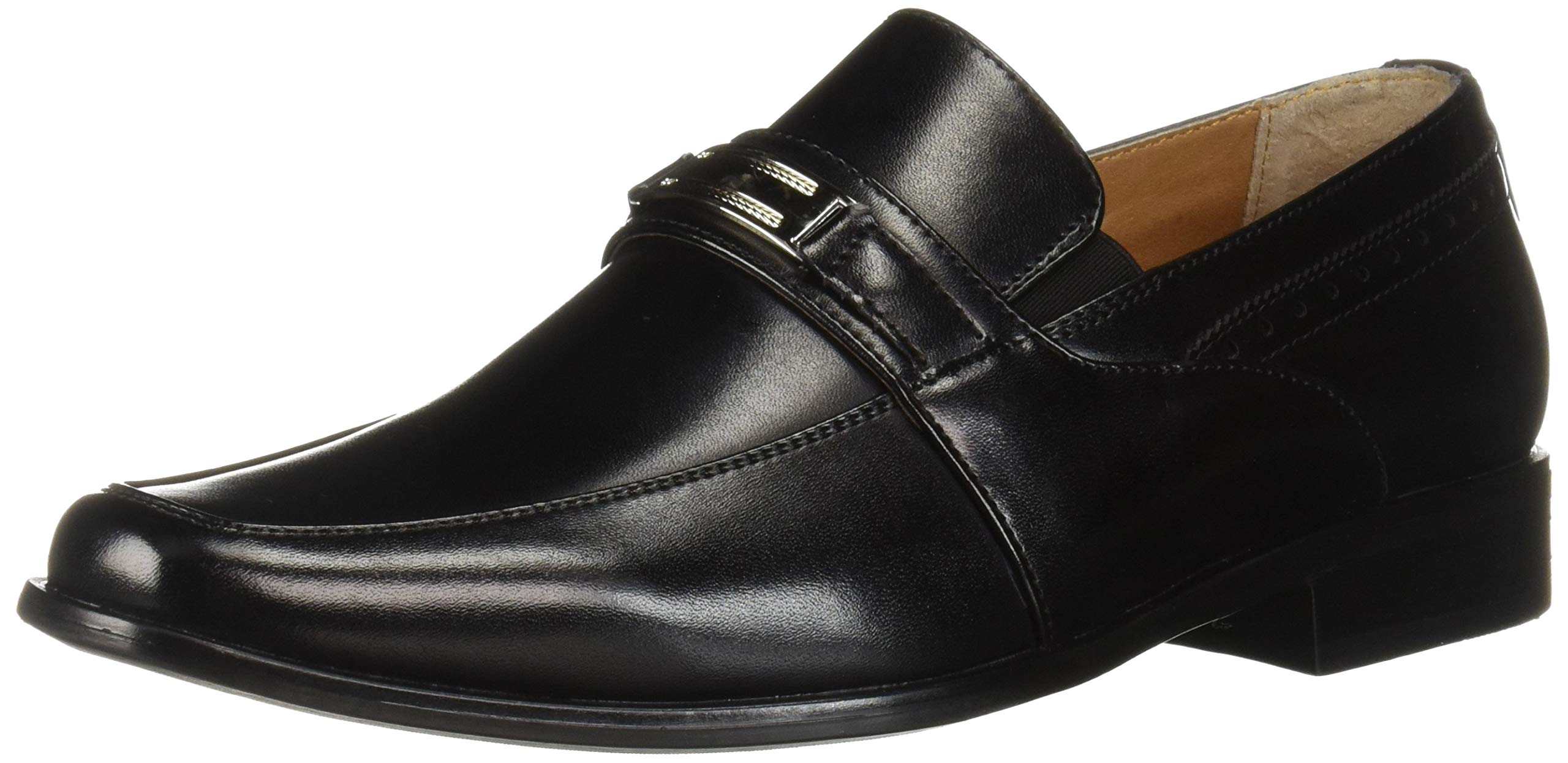 STACY ADAMS Unisex Shaw Moc Toe Bit Slip On Penny Loafer, Black 2.5 M US Big Kid