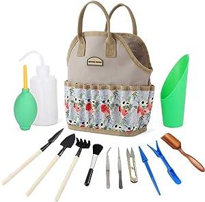Good GAIN Garden Succulent Kit with Organizer Bag,Indoor Mini Hand Gardening Tool Set, 14 Pieces Tools for Bonsai Planter Miniature Fairy Planting Care