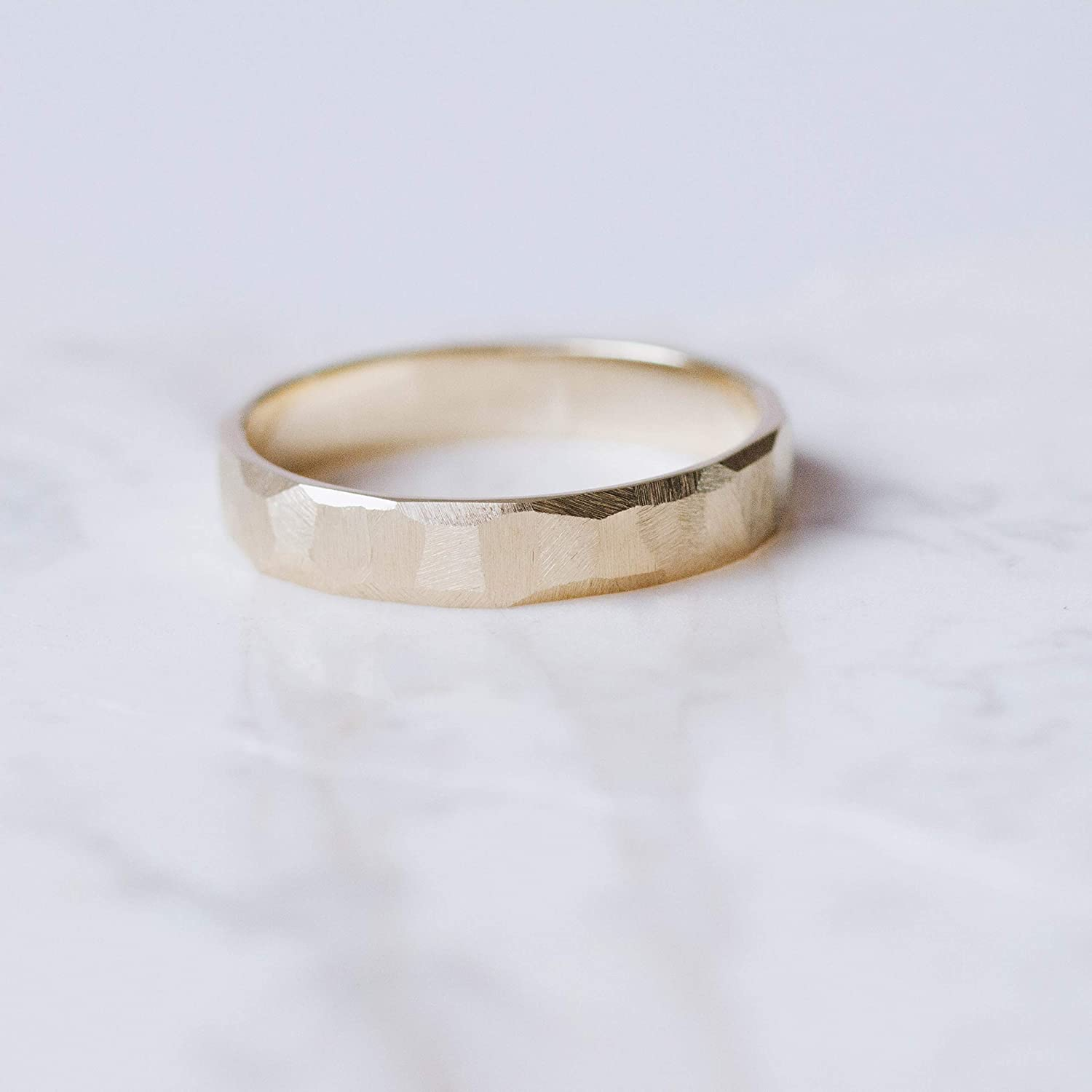 textured wedding band for him her them modern hammered style wedding band set mens or womens wedding band ethical wedding ring by LOLiDE