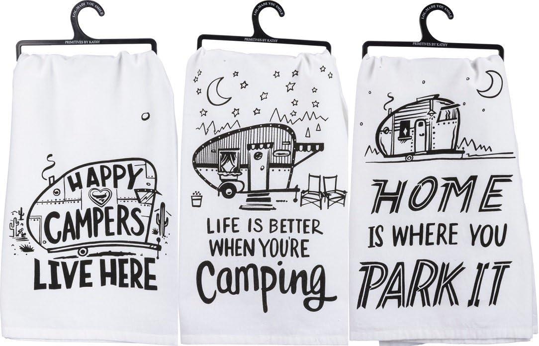 Amazon Com Primitives By Kathy Kitchen Towel Bundle Happy Campers Park It Better Camping Home Kitchen