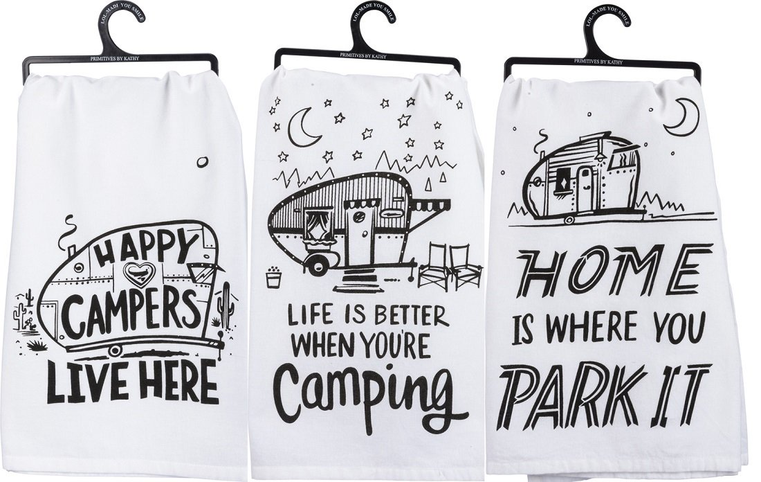 Primitives by Kathy Kitchen Towel Bundle - Happy Campers, Park It, Better Camping