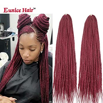Eunice 6 Packs 30 Inch Long Box Braid Style Crochet Hair 22 Roots/Pack  Synthetic Hair Crochet Braid 3S Small Box Braids (Burgundy)
