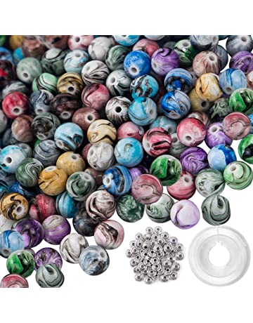 Quefe 500pcs 8mm Multi Color Acrylic Round Loose Beads in Ink Patterns with  50 Pcs Spacer 7bb4c43bf861