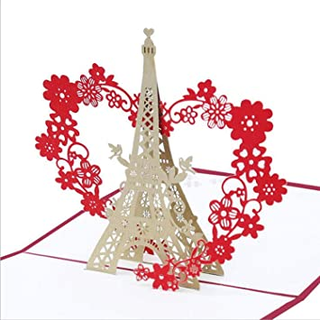 3D  Up Eiffel Tower Valentine Lover Gift Greeting Cards Invitation Postcards,