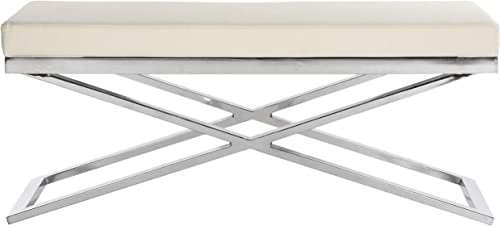 Safavieh Home Collection Acra Modern Glam White and Silver Bench