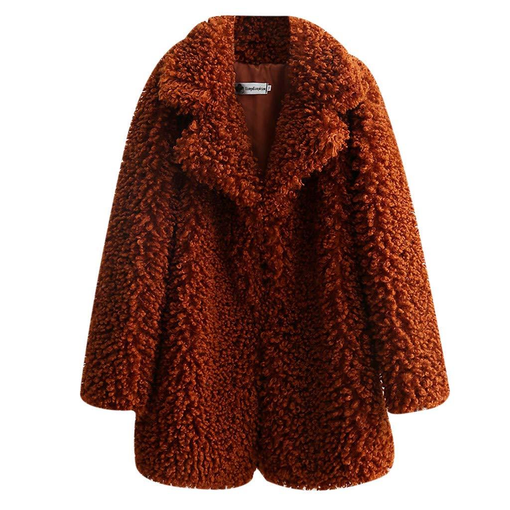 Shusuen Women's Fleece Furry Fuzzy Open Front Winter Coat Solid Color Outwear Jackets Coffee by Shusuen_Clothes