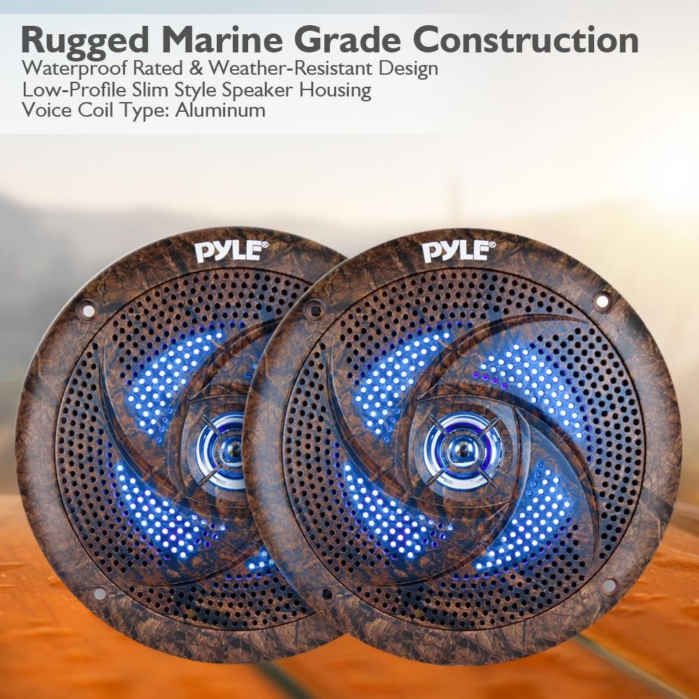 Pyle PLMRLE64DK Waterproof Rated Marine Pair Pair Camo Style 240 W Low-Profile Slim Speaker Pair with Built-in LED Lights 6.5 Sound Around 6.5 240 W