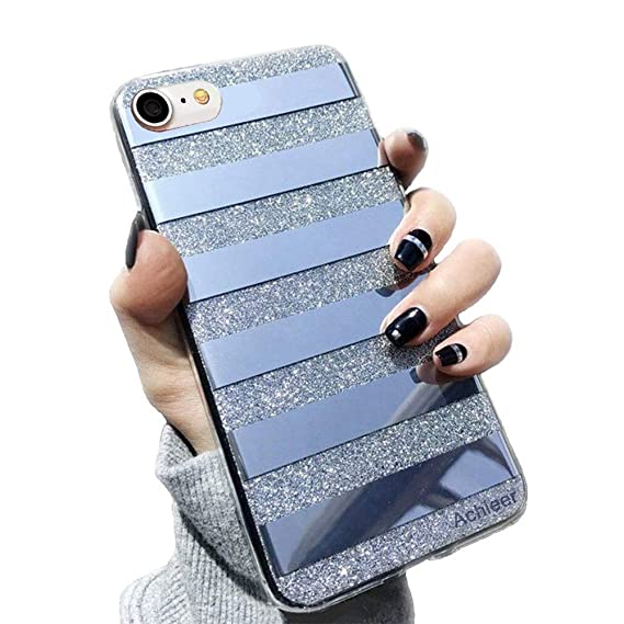 finest selection 8572c 37d9d Glitter Powder Phone Case Mirror Reflex Striped Stars Pattern Back Cover  for iPhone 7 8 Black