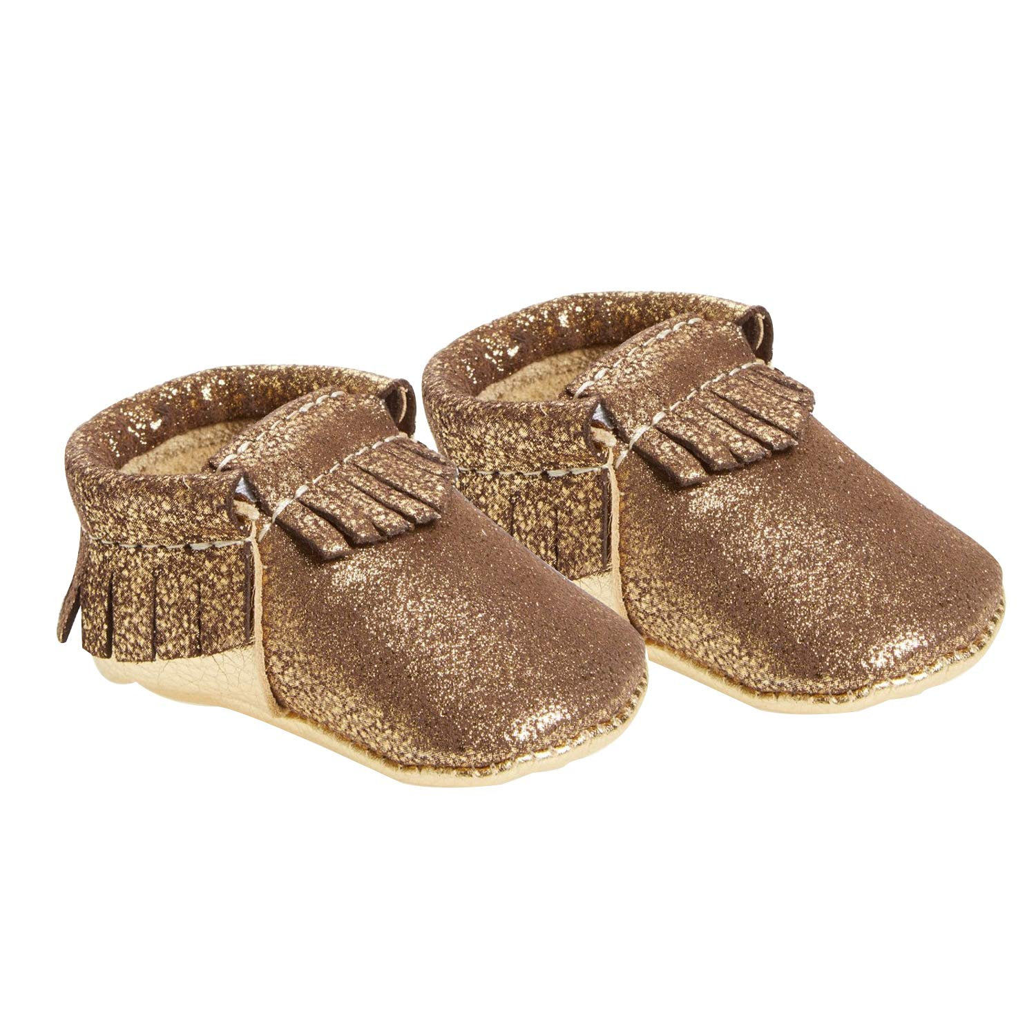 Freshly Picked Soft Sole Leather Baby Moccasins - Glitzy Gold Size 1