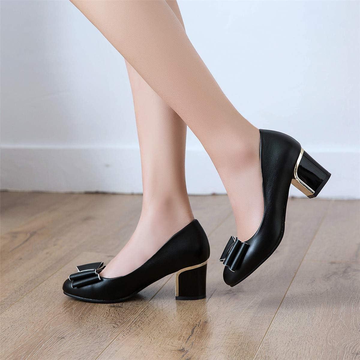 LUXMAX Donna Decolte con Tacco Medio Blocco Slip on Scarpe Fiocco Rockabilly Shoes