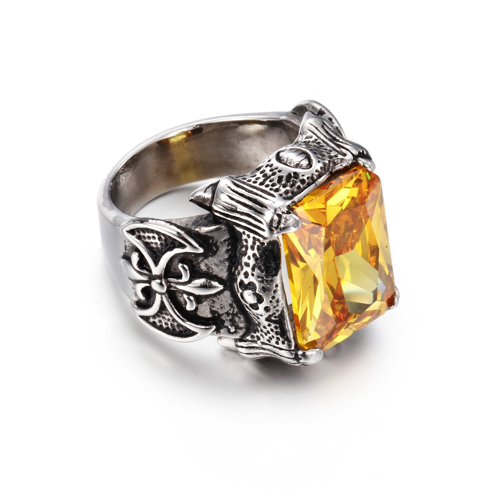NELSON KENT Men's Retro Inlaid Yellow Zircon Titanium Steel Silver Ring Size 9