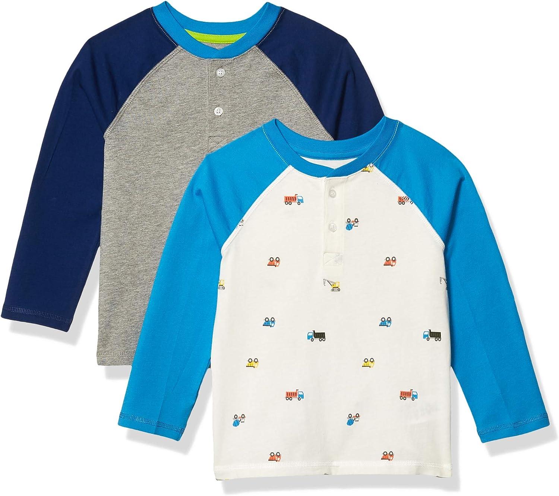 Essentials 2-Pack Boys Long-Sleeve Henley Shirt Athletic-Shirts Bambino