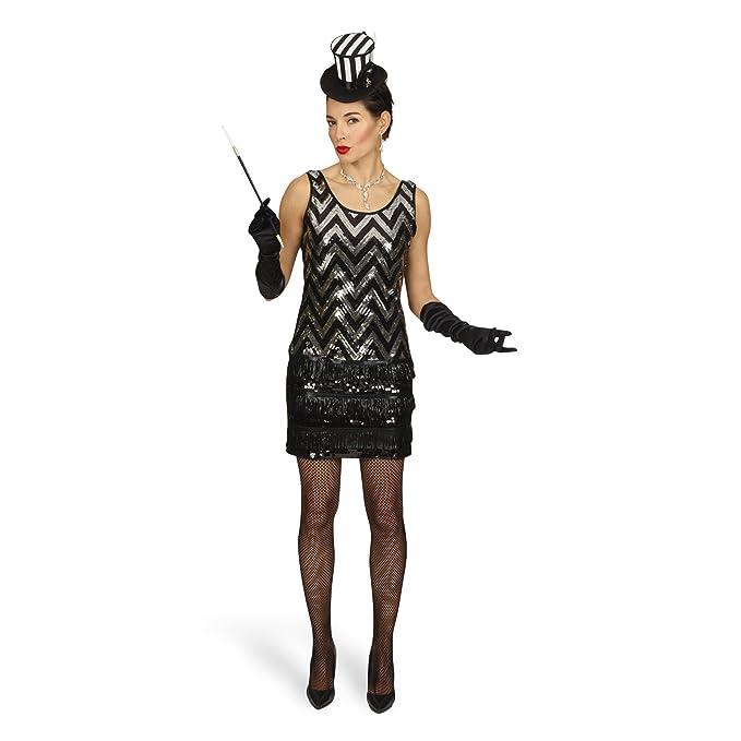 Disfraz de charlestón - minivestido de fiesta con lentejuelas brillantes, traje de mujer al estilo de los años 20, negro y plateado: Amazon.es: Ropa y ...