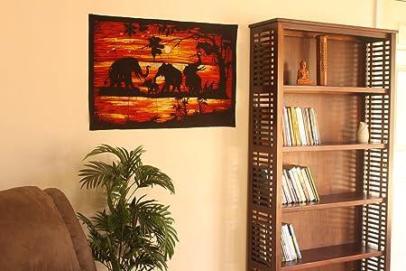 Batik Wall Hangings - Elephants in Sun Set: Amazon.co.uk: Kitchen & Home