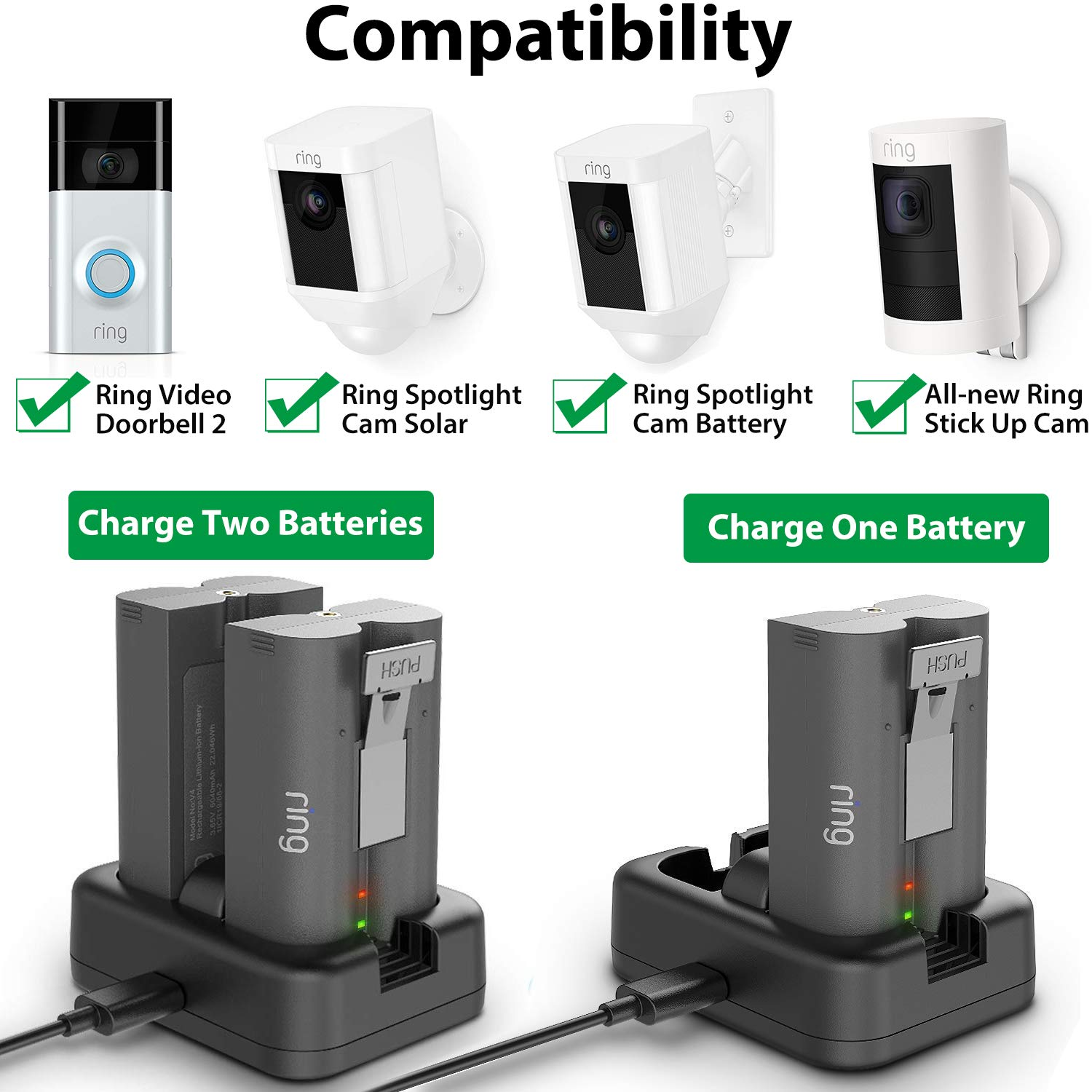 Dual Port Charging Dock with 5V 3A Power Adapter /& Cable Ring Spotlight Cam /& Ring Stick Up Cam Rechargeable Batteries Sunjoyco Quick Charge 3.0 Battery Charger Station for Ring Video Doorbell 2