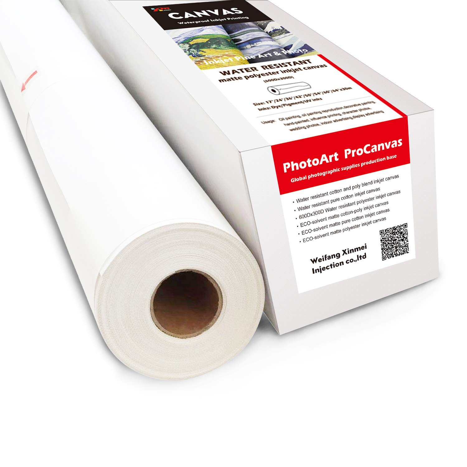 Canvas, 600Dx300D Water Resistant Polyester Inkjet Canvas (60''x100'(Pack of 1))