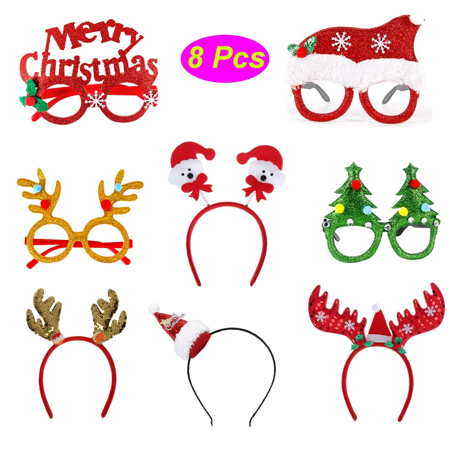 CAMTOP 8 Pack Christmas Glasses and Headbands Hat Xmas Party Supplies Photo Booth Props Holiday Costume Accessories