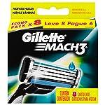 Carga para Aparelho de Barbear Gillette Mach 3 Regular - Leve 8 Pague 6