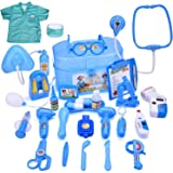 FUN LITTLE TOYS Doctor Kit for Kids, Pretend Play Doctor Playset with Doctor Costume, Medical Kit for Toddlers, Boys and Girls, 27 pcs