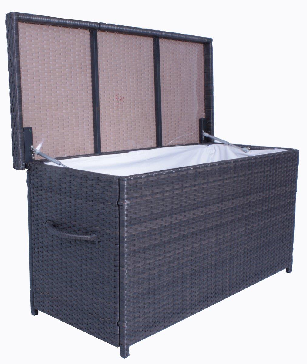 Auflagenbox Kissenbox in Rattanoptik aus Kunststoff/Stahl in der Farbe Coffee