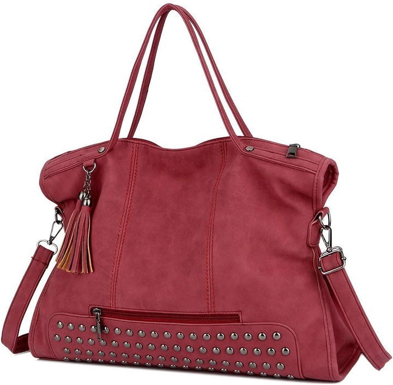 Large Casual Tote Bags For Women 2019 Fashion Style Boston Rivet Tassel Handbag Ladies Top handle Shoulder Messenger Bag